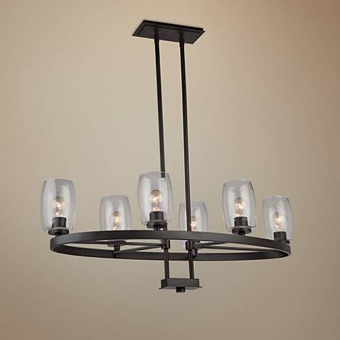 "San Antonio 18""W Java Brown 6-Light Island Pendant"