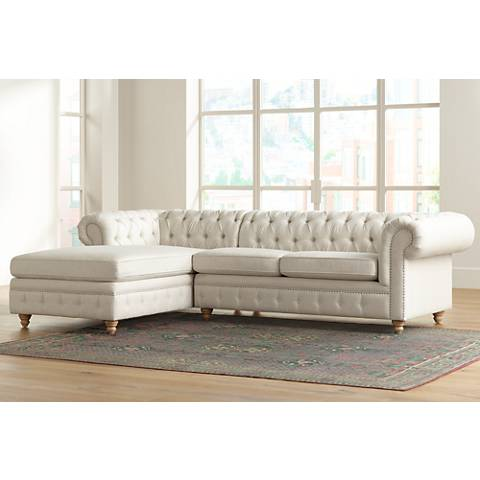 Haverhill Tufted Natural Linen 2-Piece Chaise Sectional