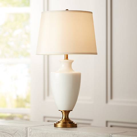 Regency Hill Joan White Glass and Brass Table Lamp