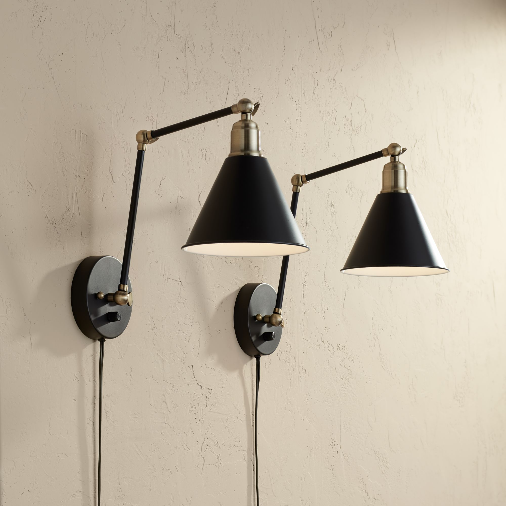 Wray Black And Antique Brass Plug In Wall Lamp Set Of 2