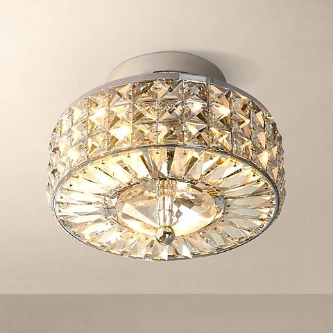 "Crystal Basket 9"" Wide Ceiling Light Fixture"