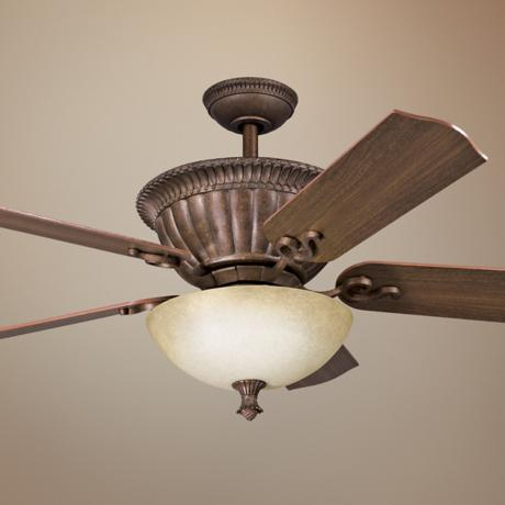 "52"" Larissa Tannery Bronze with Gold Accents Ceiling Fan"