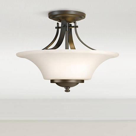 "Feiss Barrington 15"" Bronze Semi-Flushmount Ceiling Fixture"