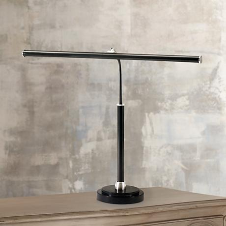 Black and Satin Nickel Finish LED Piano Lamp