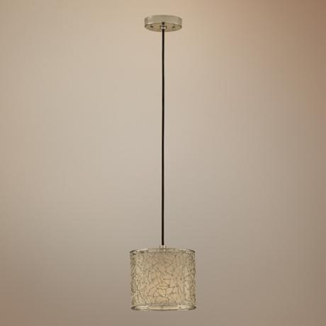 Brandon Collection One Light Polished Silver Mini-Pendant