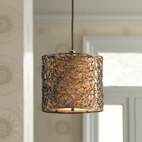 Brandon Collection One Light Distressed Rust Mini-Pendant