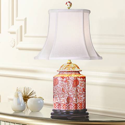 Coral Porcelain Scalloped Tea Jar Table Lamp