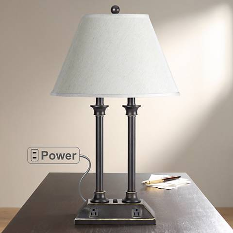 Antique Bronze with Power Outlets Desk Lamp