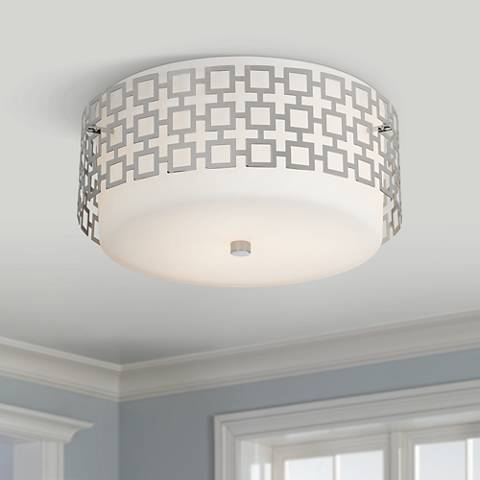 "Jonathan Adler Parker 15 1/4"" Wide Nickel Ceiling Light"