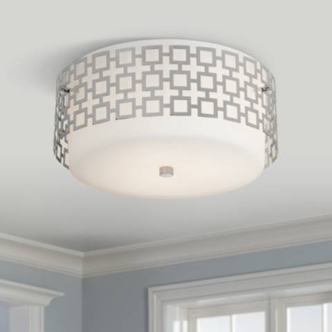 jonathan adler parker 15 1 4 wide nickel ceiling light. Black Bedroom Furniture Sets. Home Design Ideas