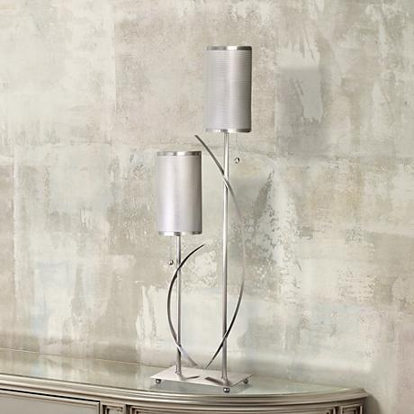Metal Screen Tube Shade Twin Arm Table Lamp