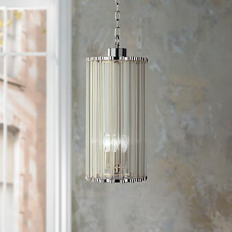 "Polished Nickel Glass Rod 22"" High Pendant Chandelier"