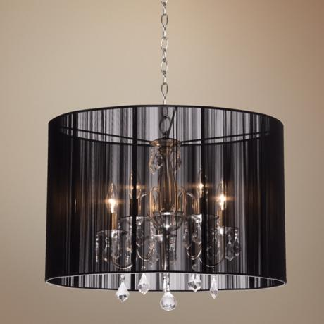 "Artcraft Claremont Black 23"" Wide Oval Nickel Chandelier"