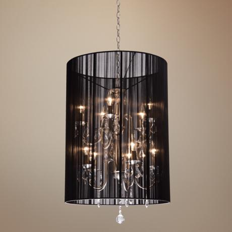 "Artcraft Claremont Black 20"" Wide Nickel Chandelier"