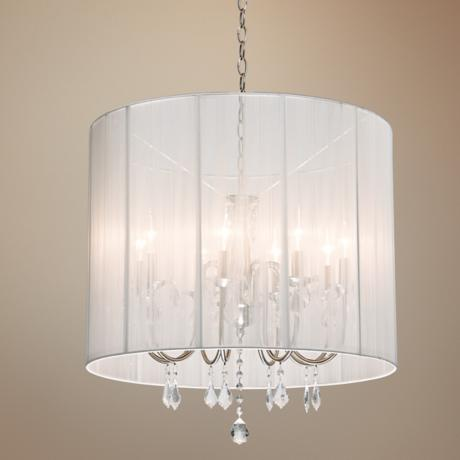 "Artcraft Claremont White 25 1/2"" Wide Nickel Chandelier"