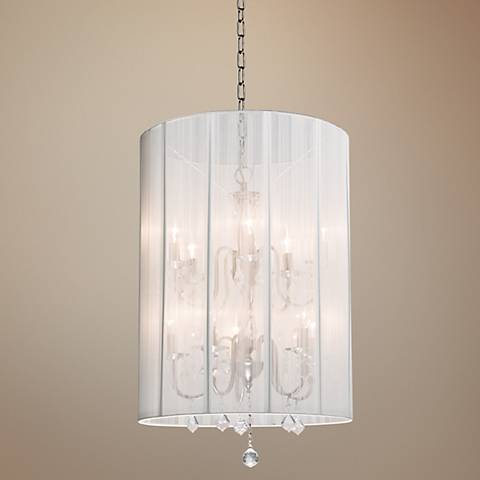 "Artcraft Claremont White 20"" Wide Nickel Chandelier"