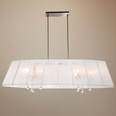 "Artcraft Claremont White 55"" Wide Nickel Chandelier"