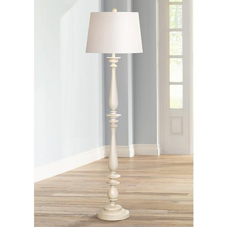 Coastal Turned Base White Floor Lamp