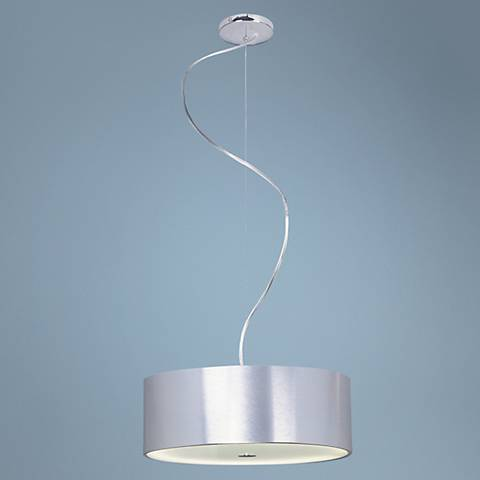 "Chrome and Brushed Aluminum 16"" Wide Pendant Light"