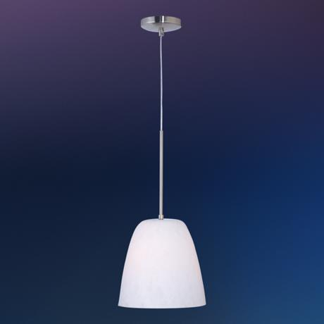 Caramel Cream Glass Satin Nickel Pendant Light