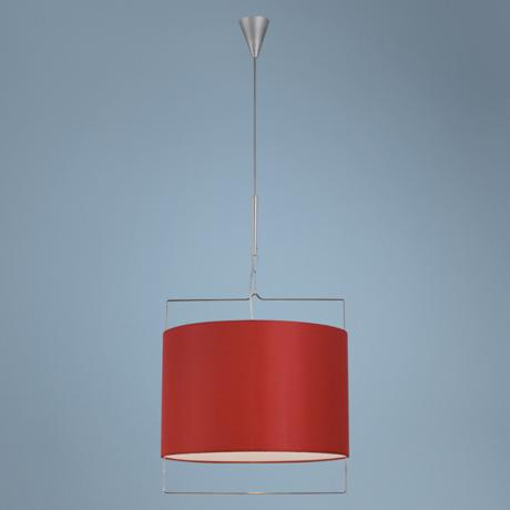 Contemporary Red Shade Satin Nickel Pendant Light
