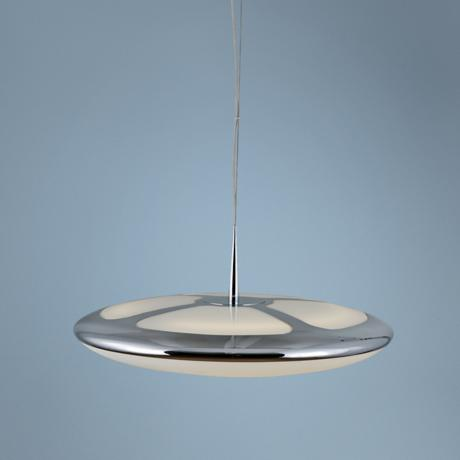 Chrome Finish Flat Upside Down Dome Pendant Light