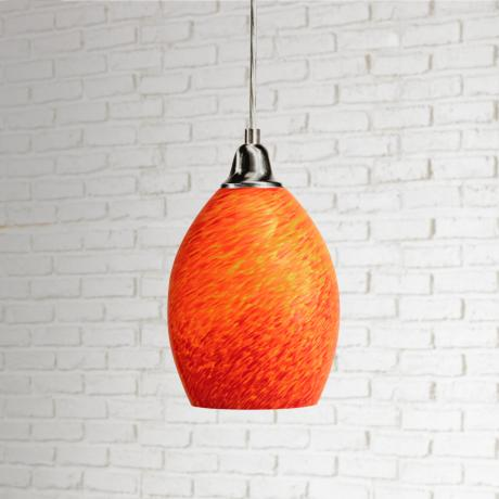 Satin Nickel Cracked Eggshell Shaped Pendant Light
