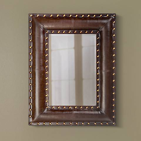 "Studded Faux Leather Padded 45"" High Wall Mirror"