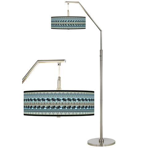 Elephant March Giclee Shade Arc Floor Lamp