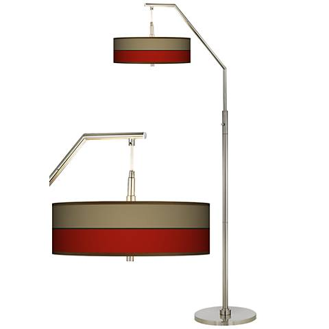 Empire Red Giclee Shade Arc Floor Lamp
