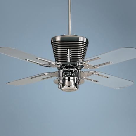 "52"" Quorum Retro Chrome Ceiling Fan with Light Kit"