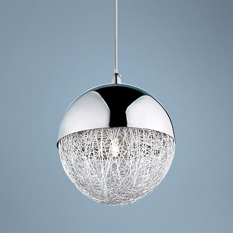 "Sonnet 6"" Wide Winding Globe Chrome Pendant Light"