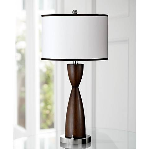 Espresso Faux Wood Hourglass Table Lamp