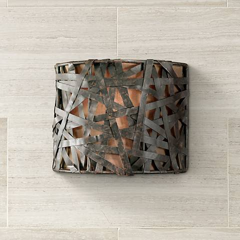 "Alita Collection Aged Black 9"" High Wall Sconce"