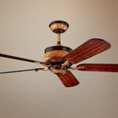 "52"" Kichler Novella Antique Leather Ceiling Fan"