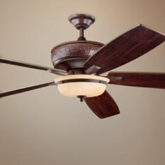 "70"" Kichler Monarch Bronze Ceiling Fan with Light Kit"