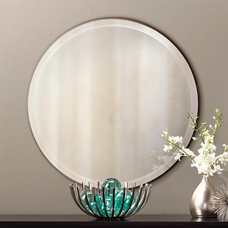 "Mocha Brown Finish Slim Round 29"" Wide Wall Mirror"