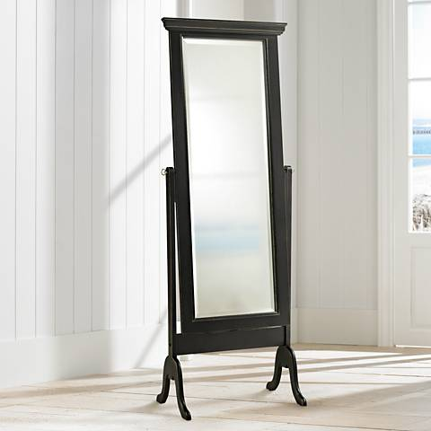Distressed Matte Black Finish Full Length Cheval Mirror