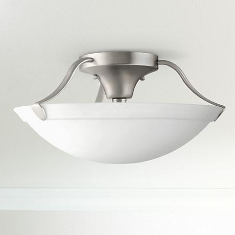 "Kichler Etched Glass and Nickel 15"" Wide Ceiling Light"