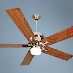 "52"" Craftmade Grant Nickel and Walnut Blades Ceiling Fan"