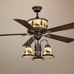 "56"" Vaxcel Yellowstone Amber Flake Glass Light Ceiling Fan"