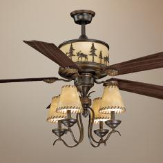 "56"" Vaxcel Yellowstone Faux Leather Down Lights Ceiling Fan"