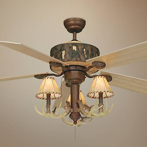 "52"" Vaxcel Log Cabin Ceiling Fan with Antler 3-Light Kit"