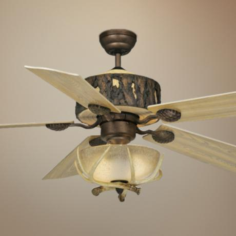 "52"" Vaxcel Log Cabin Ceiling Fan with Antler Bowl Light Kit"