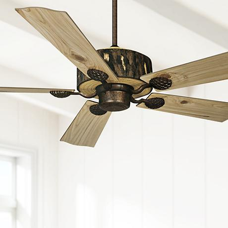 "52"" Vaxcel Log Cabin Weathered Patina Finish Ceiling Fan"