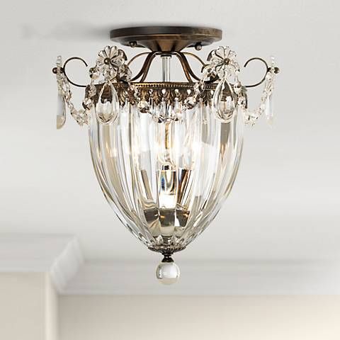 "Schonbek Bagatelle Collection 10 1/2"" Crystal Ceiling Light"
