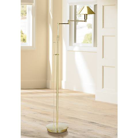 Holtkoetter Polished Brass Metal Shade Swing Arm Floor Lamp