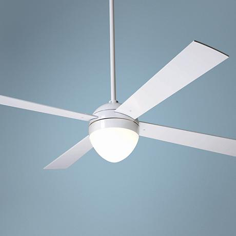 "52"" Modern Fan Gloss White Ball with Light Ceiling Fan"