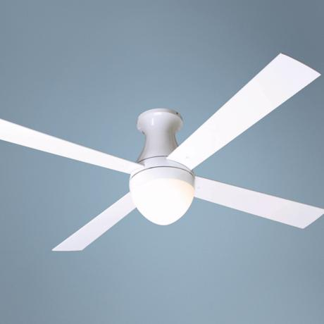 "52"" Gloss White Ball Hugger with Light Ceiling Fan"
