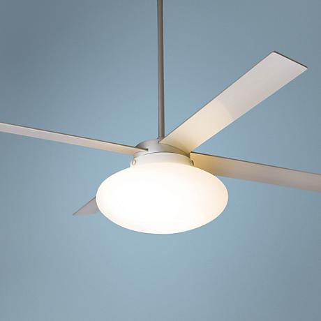 "52"" Modern Fan Cloud Textured Nickel with Light Ceiling Fan"